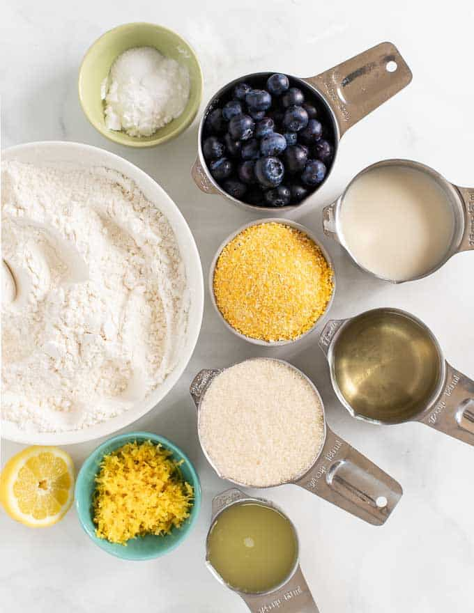 ingredients for lemon blueberry loaf