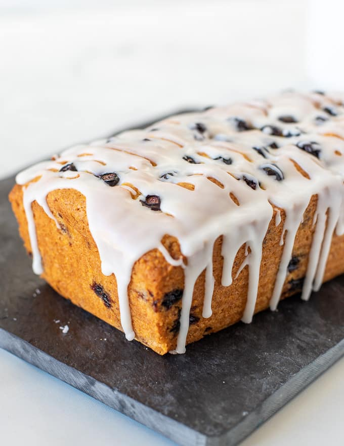 lemon blueberry loaf with a dribbly glaze