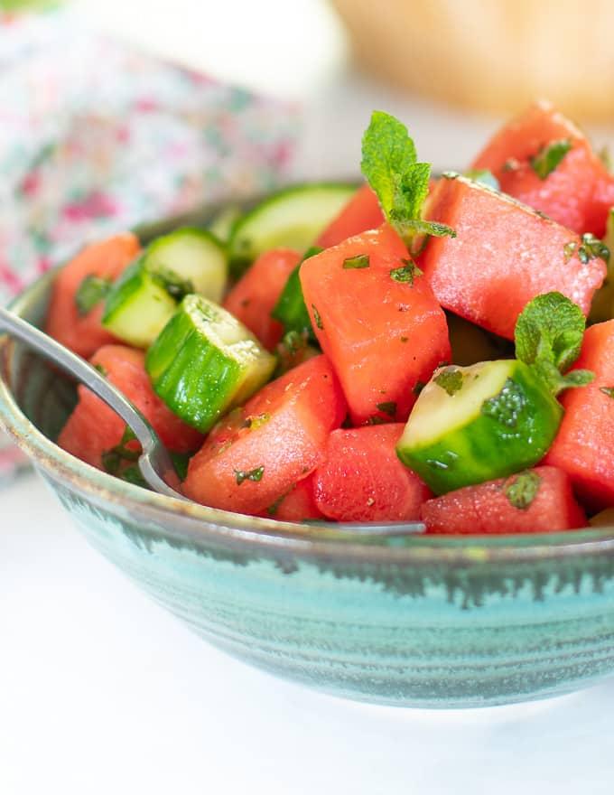 close up shot of a watermelon mint salad