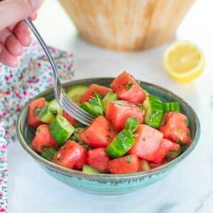 watermelon mint salad in a bowl