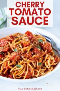 A rustic, creamy, thick and full of flavour Cherry Tomato Sauce, that's perfect for serving over pasta. It's made with only 6 ingredients and is easy enough for midweek, yet worthy of company too.