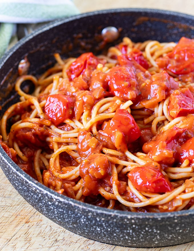 Cherry Tomato Sauce and spaghetti in a pan