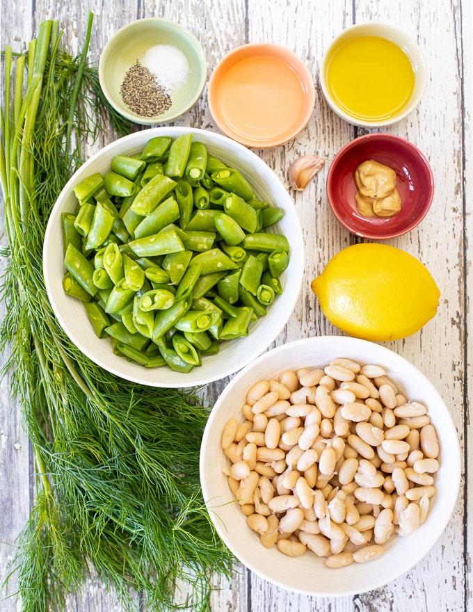 ingredients to make Sugar Snap Pea Salad