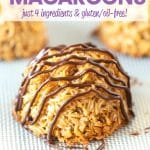 Homemade vegan coconut macaroons that are sweet, moist, and chewy on the outside with a gorgeous toasty, golden brown colour and a hint of caramel flavour which compliments the coconut perfectly. They're made with just 4 simple ingredients and are naturally gluten free!