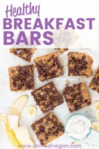 Sweet, soft and hearty Healthy Breakfast Bars made with wholesome ingredients plus a spattering of chocolate chips … Because CHOCOLATE …. But you can easily just use more nuts or seeds instead if you prefer. Perfect for grab and go breakfasts or for stuffing into lunch-boxes!