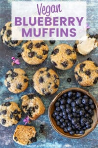 Soft, fluffy Vegan Blueberry Muffins, bursting with juicy, jammy blueberries! Quick, easy and made with basic ingredients, you'll appreciate their simplicity.