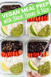 A healthy, protein packed Vegan Meal Prep with Black Beans & Rice recipe that you can prep in advance in under 30 minutes & enjoy all week long!