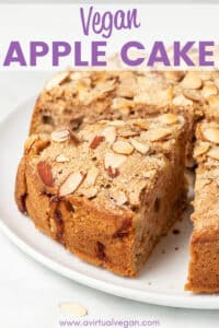 This simple yet decadent Vegan Apple Cake is light and fluffy, loaded with fresh apples, and has a super crunchy, sugar and flaked almond top. It's a cake that feels and smells like fall. No mixer required!