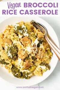 From scratch, super-easy, Vegan Broccoli Rice Casserole with creamy rice, tender broccoli and surprise sausage-y bites. Put everything in the dish raw then bake. Minimal prep, minimal hands on time, maximum comfort!