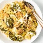a bowl of Vegan Broccoli Rice Casserole in a white bowl
