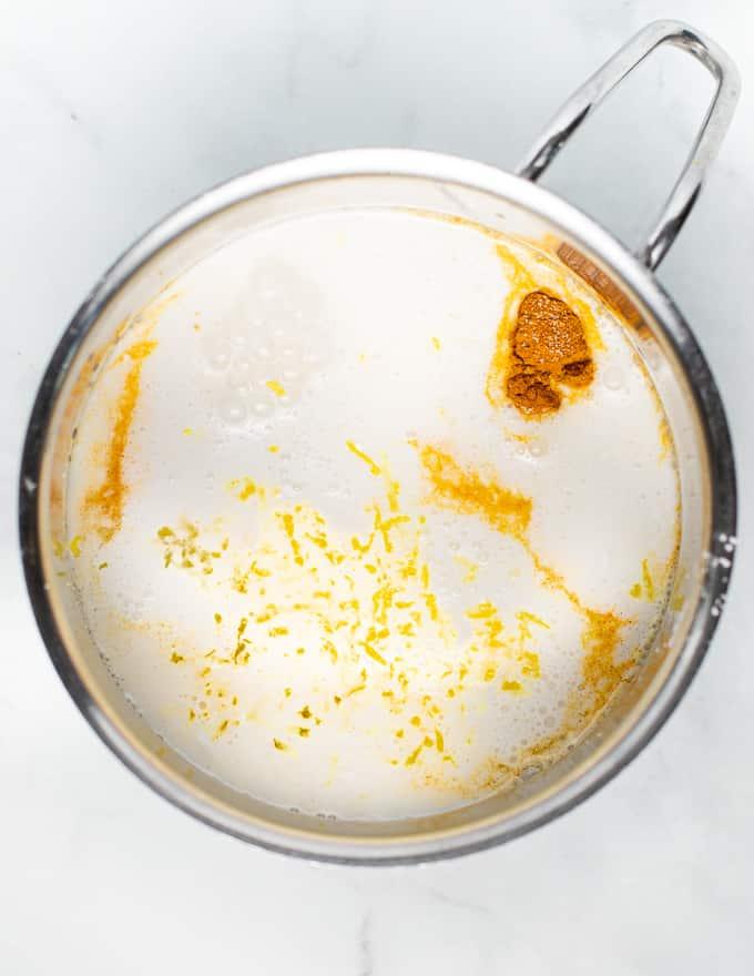 ingredients for vegan lemon curd in a pan prior to cooking