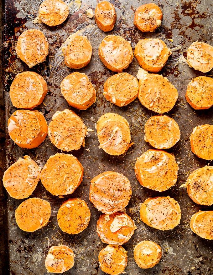 Melting Cinnamon Roasted Sweet Potatoes being prepared