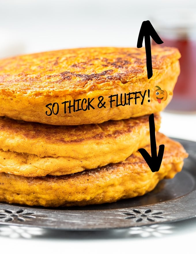 close up of vegan pumpkin pancakes showing how thick they are