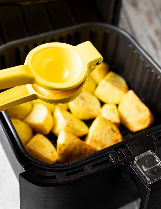 part cooked potatoes in an air fryer