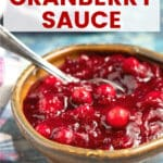 Instant Pot Cranberry Sauce! Made in only a few minutes and you can use fresh or frozen cranberries. No stirring, no fuss and make it up to 2 weeks ahead. It's sweet and tart and makes the perfect accompaniment to your holiday feast.