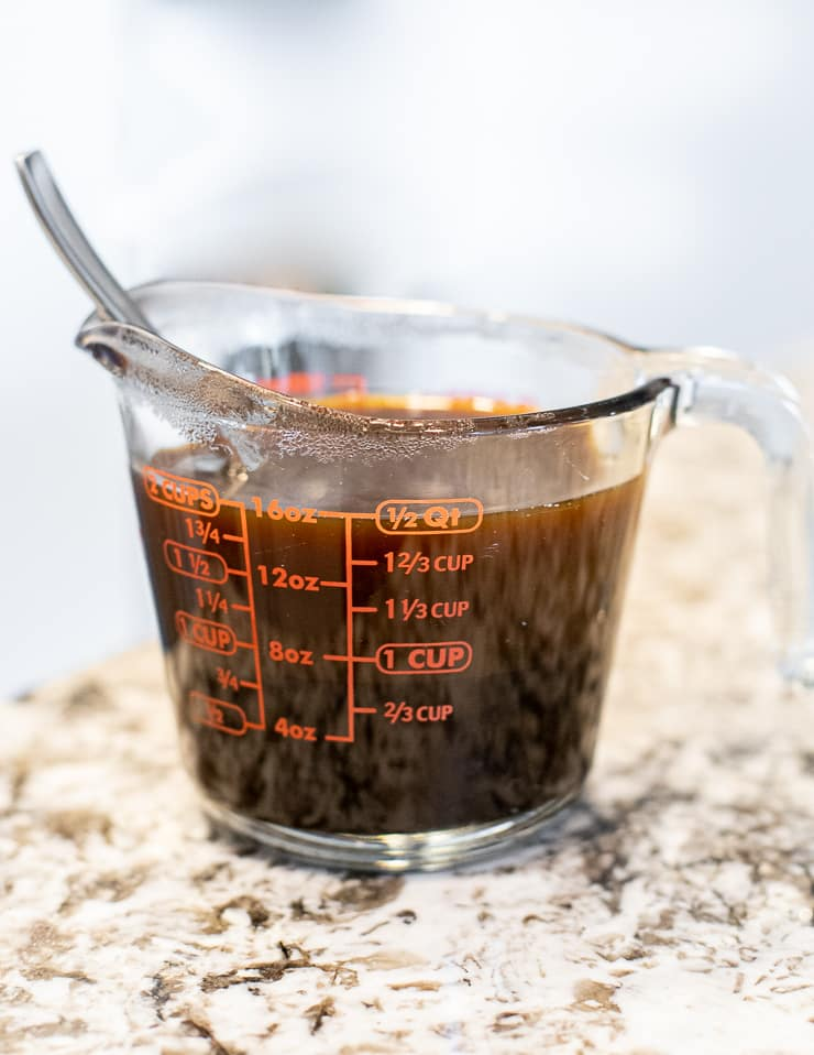 Molasses and water in a jug