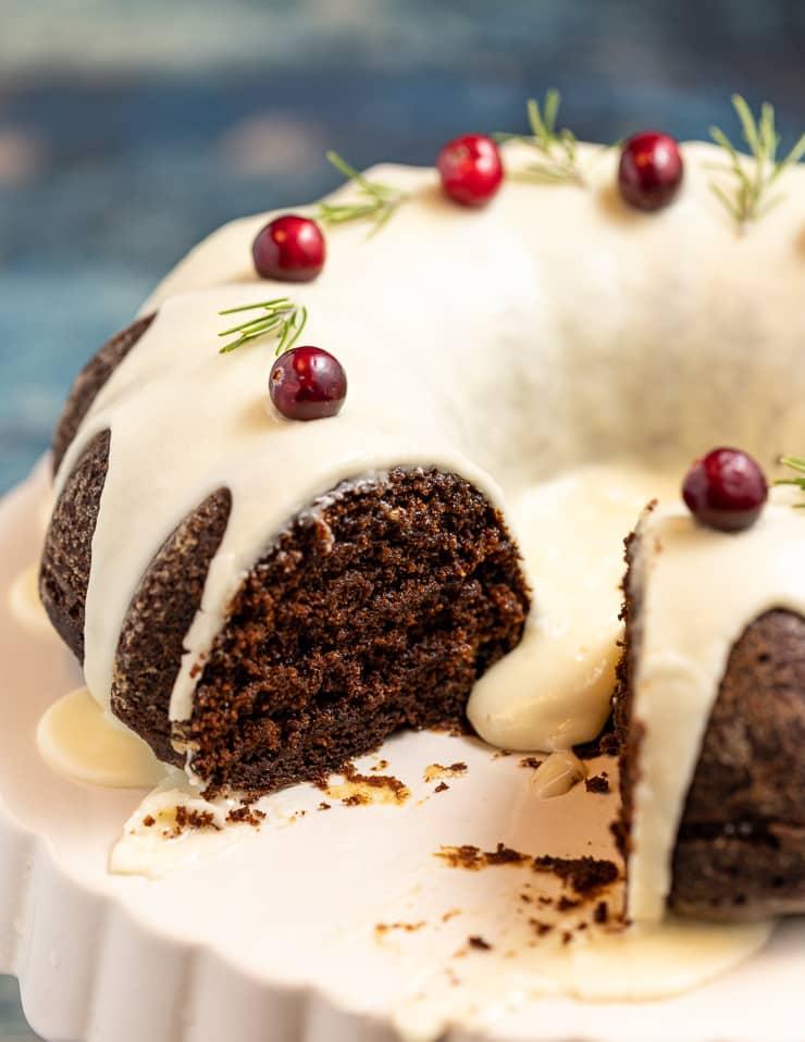 A cut Vegan Gingerbread Cake, showing the inside crumb