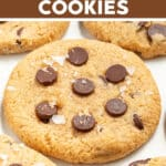 Almond Flour Chocolate Chip Cookies that are naturally gluten-free, grain-free, perfectly chewy, buttery (but butter/oil-free), a bit cookie-doughy in the middle and super yum. Mixed up and ready in under 20 minutes!