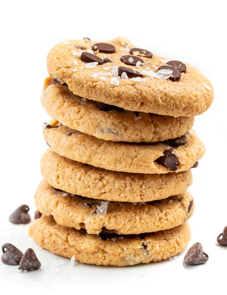 a stack of almond flour chocolate chip cookies