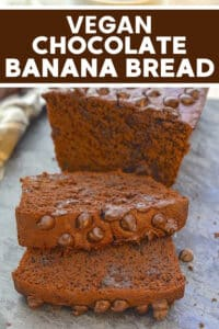 This Healthier Vegan Chocolate Banana Bread is made with whole-grain flour & contains no added butter or oil but it 100% tastes amazing! It's super-moist, slightly fudgy & really indulgent!