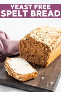 A super easy, totally foolproof, quick Yeast-Free Spelt Bread that is ready from start to finish in a little over an hour. It's rustic, full of nutty, hearty flavours and perfectly soft and fluffy inside!