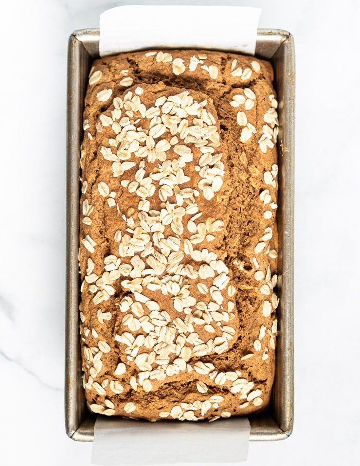 yeast-free spelt bread in a loaf pan