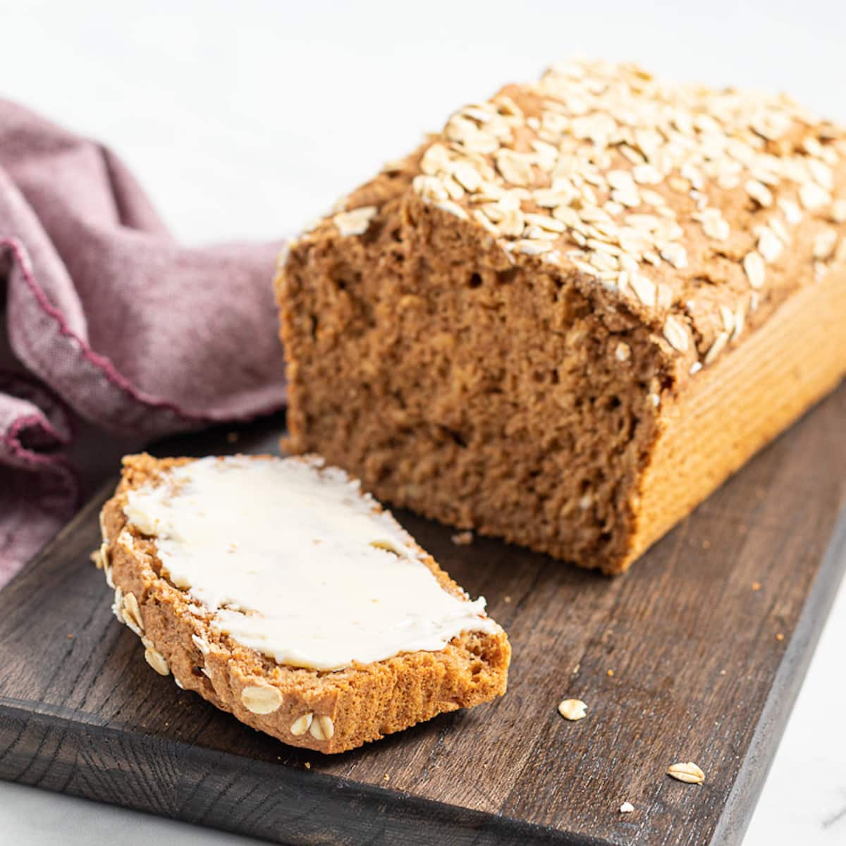 a slice of buttered spelt bread
