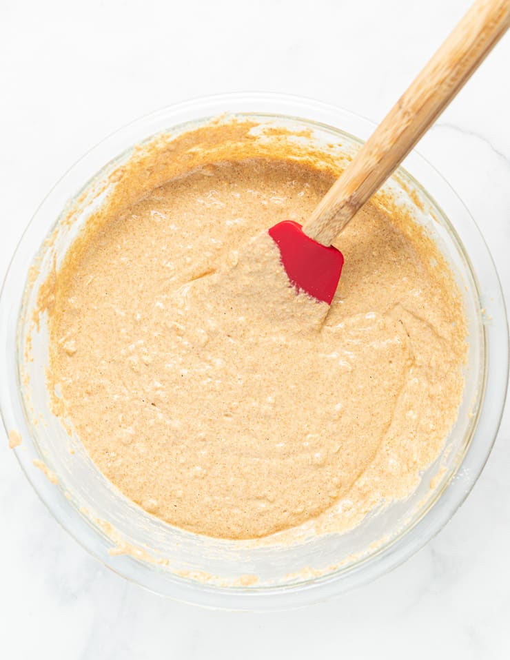 yeast-free spelt bread batter in a bowl