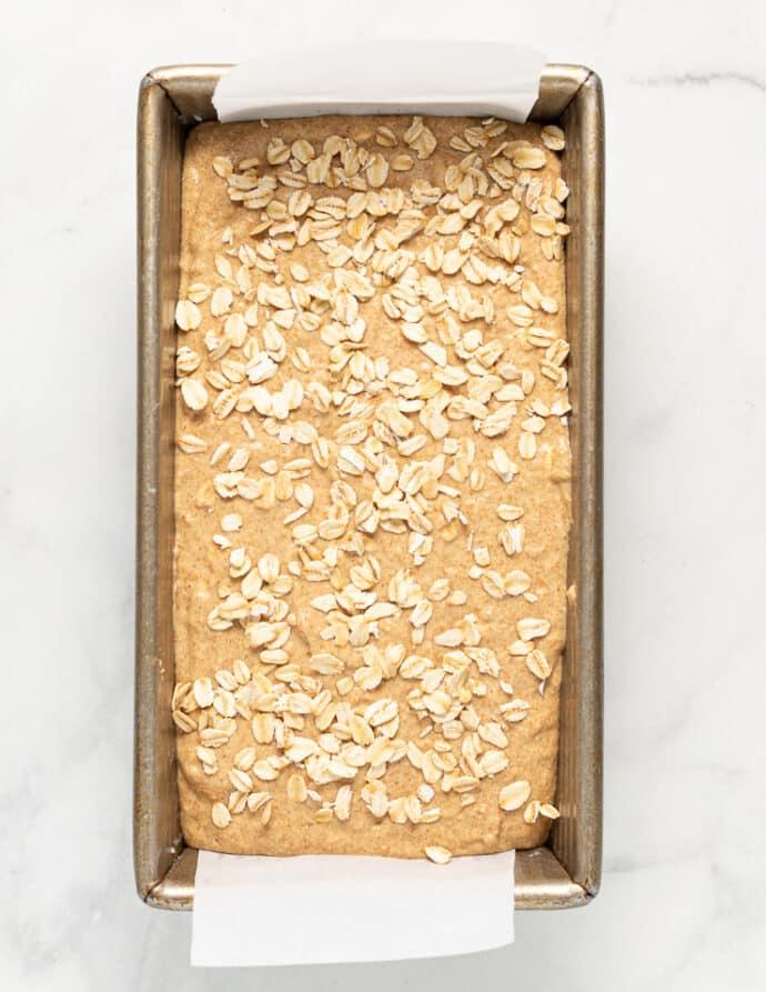 un-baked yeast free spelt bread batter in a pan