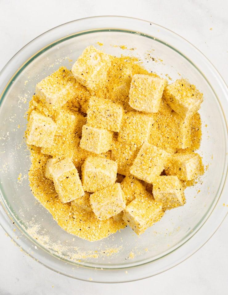 tofu cubes in cornmeal