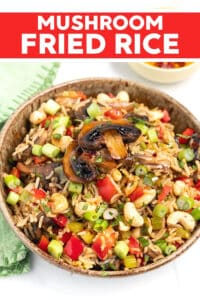 This Mushroom Fried Rice recipe is budget friendly and super quick to make. It's a great way to use up leftover cooked rice, is made all in one pan and takes no more than 15 minutes!