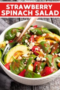 A simple, super tasty Strawberry Spinach Salad made with soft, deep green spinach, ripe juicy strawberries & buttery avocado all finished off with a fresh, oil-free, strawberry vinaigrette and some optional creamy, salty crumbles of vegan feta cheese.