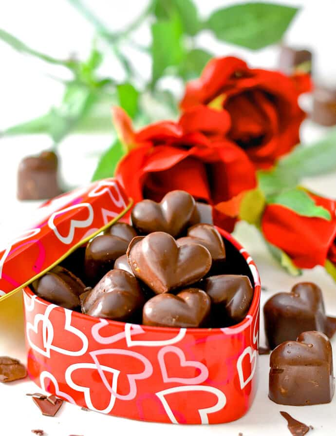 vegan chocolate caramels in a heart shaped tin