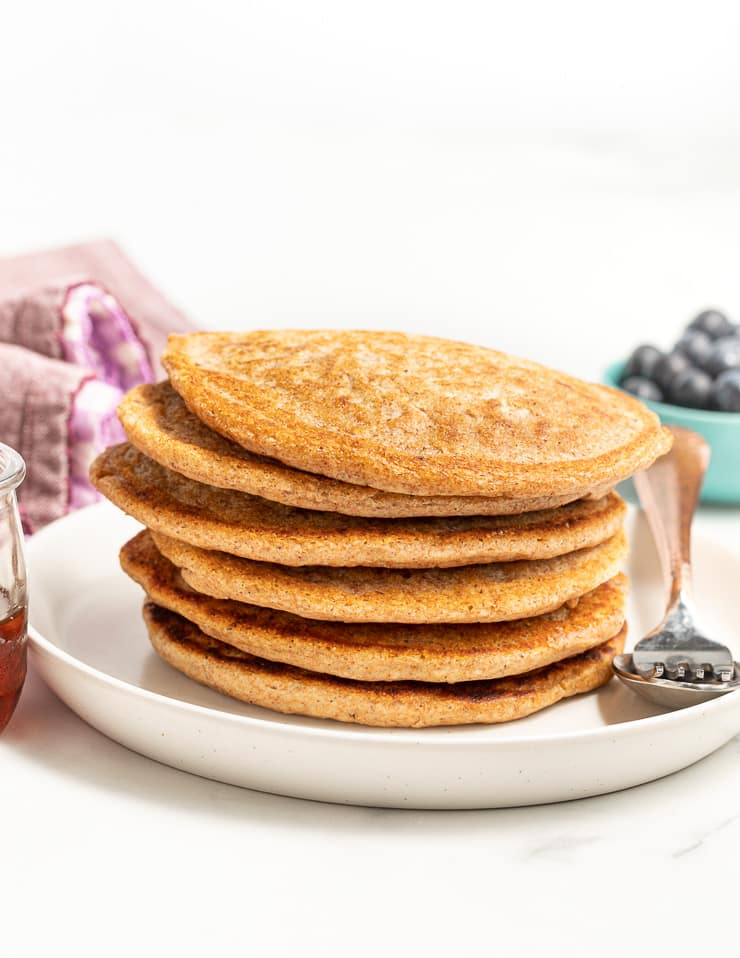 a stack of vegan pancakes with no toppings