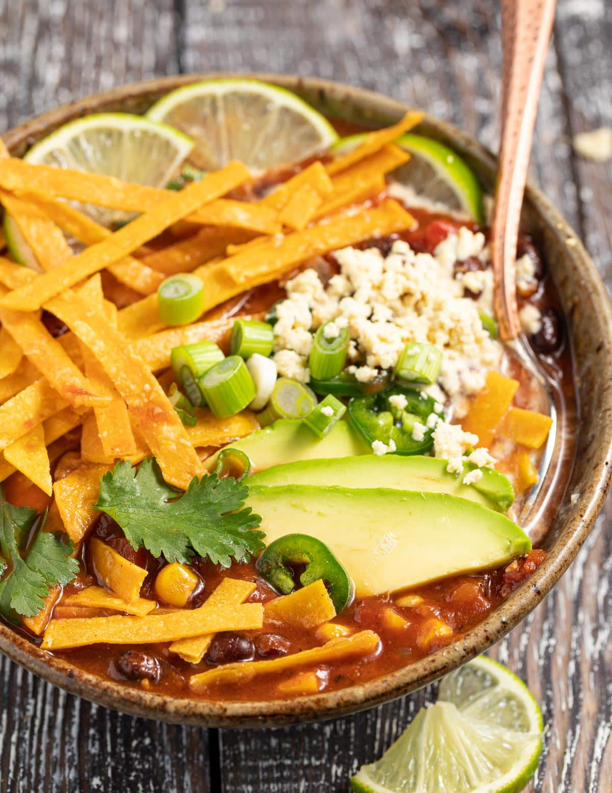 a close up photo of a bowl of vegan tortilla soup with toppings