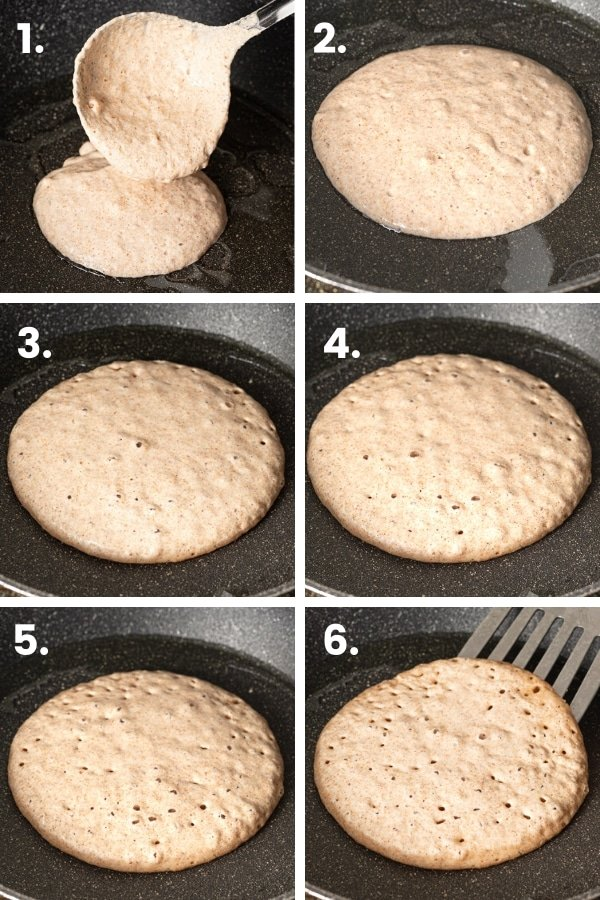 step by step images of a pancake cooking in a pan