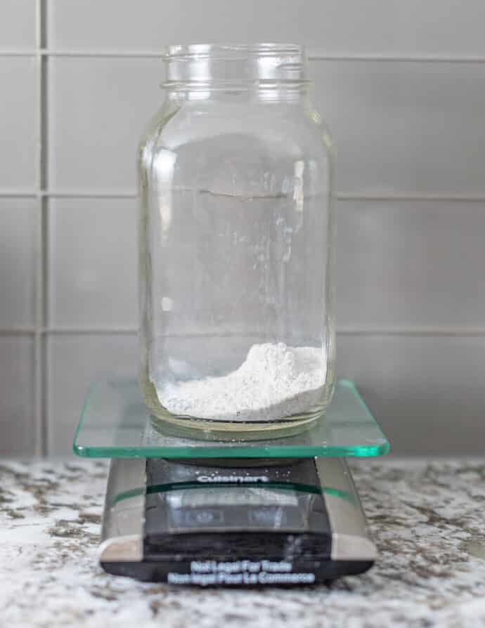 a small amount of flour in a clear jar