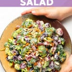 This Vegan Broccoli Salad is made with a delicious blend of broccoli, red grapes, toasted slivered almonds and a tangy, creamy dressing. It's perfectly crunchy, creamy, sweet and savoury and great for making ahead!
