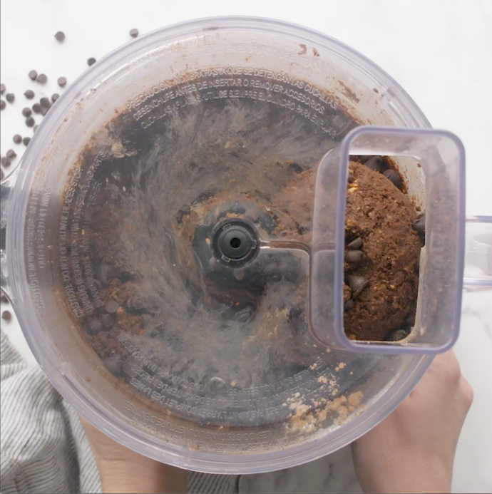 chocolate cookie dough in a food processor