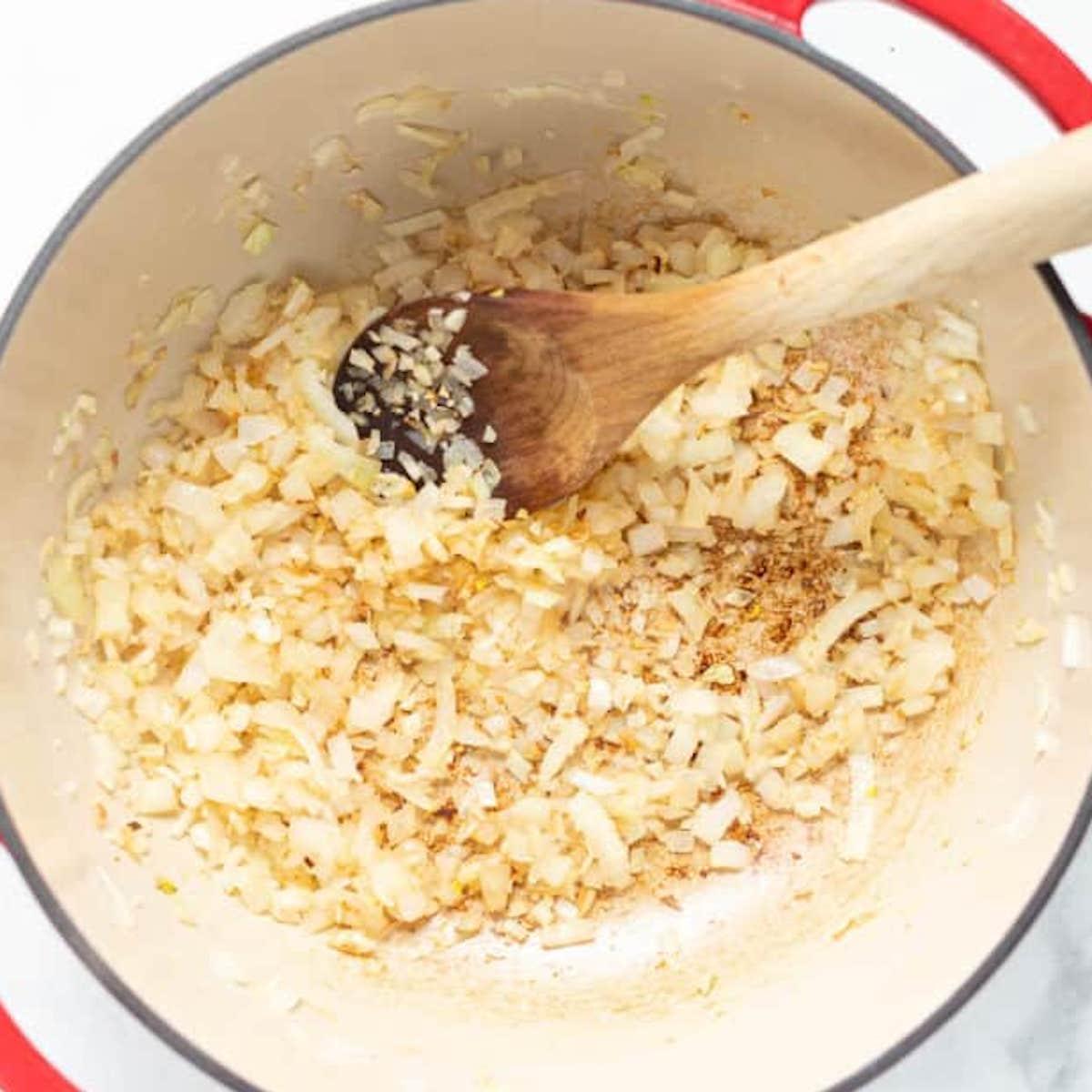 sautéed onions in a pan