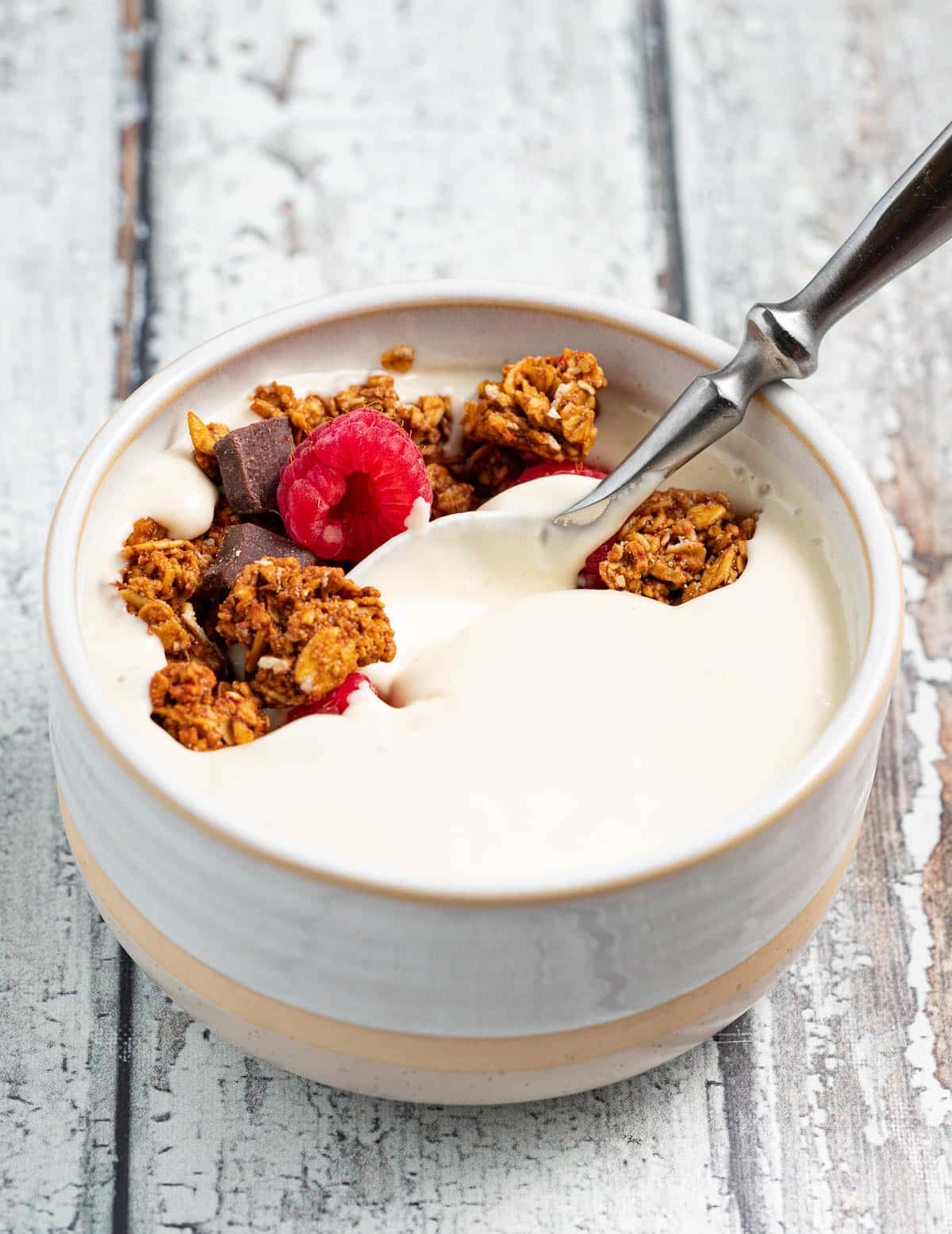 a large bowl of yogurt with chocolate granola and raspberries