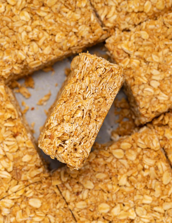 a no bake oatmeal peanut butter bar turned on its side