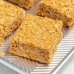 one piece of no bake oatmeal peanut butter bar