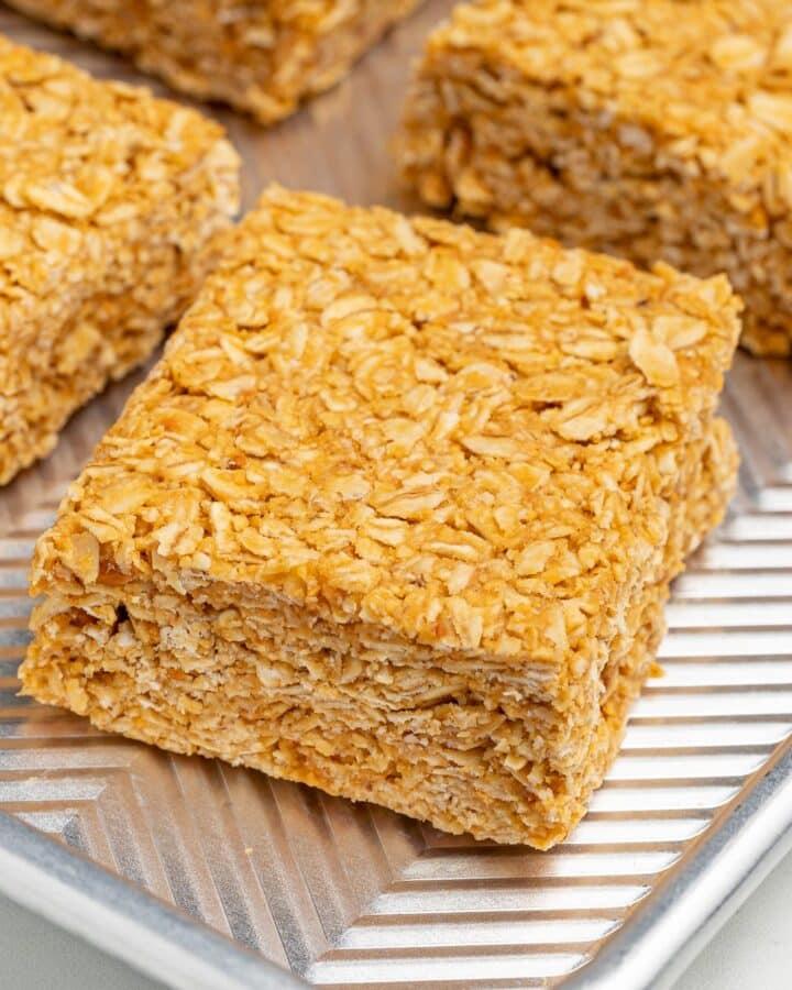 one piece of no bake oatmeal peanut butter bar
