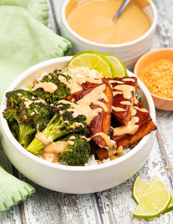 a tofu bowl with peanut sauce