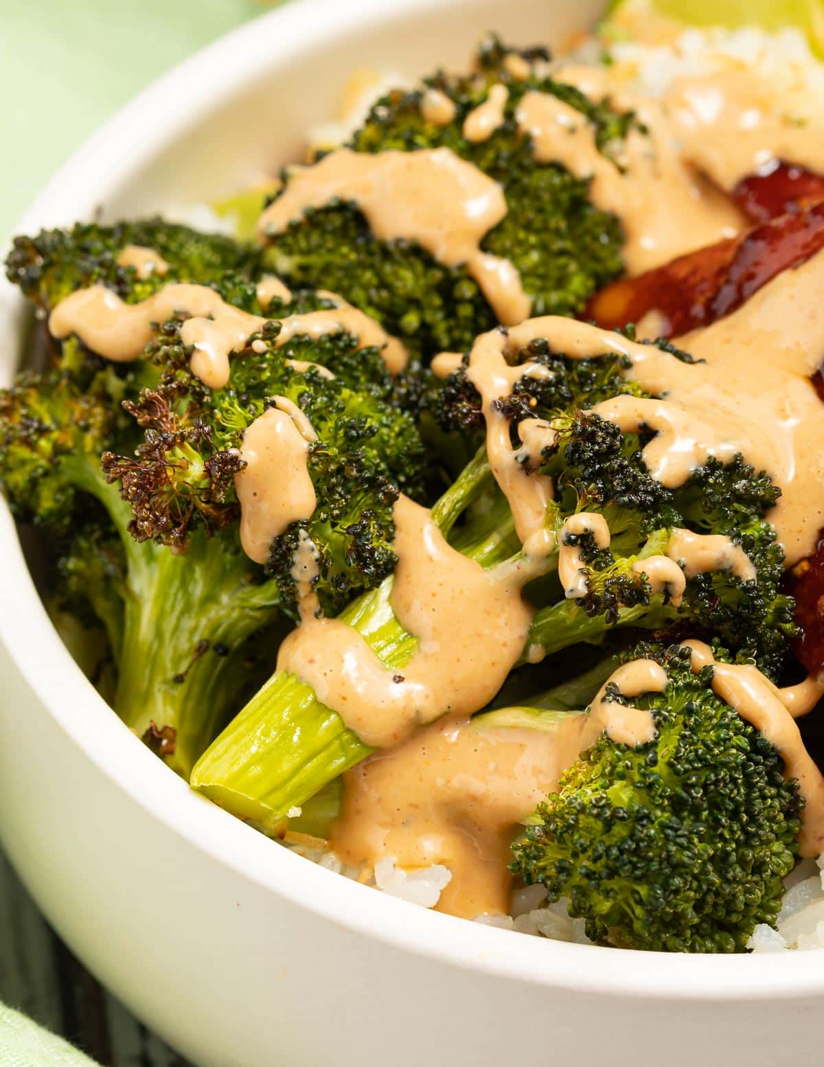 Broccoli with a drizzle of sauce
