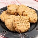 a plate of vegan peanut butter cookies