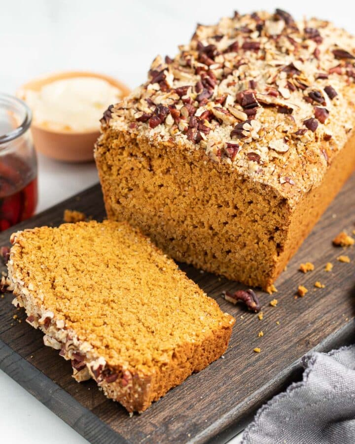 gluten-free sweet potato bread with the end cut off