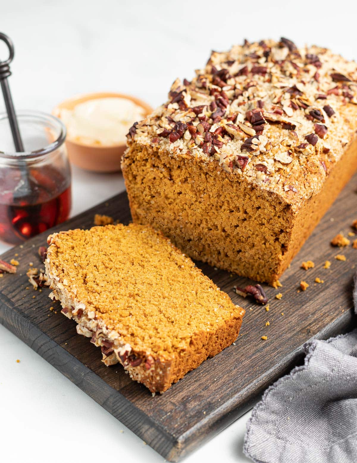 a loaf of gluten-free sweet potato bread with the end cut off