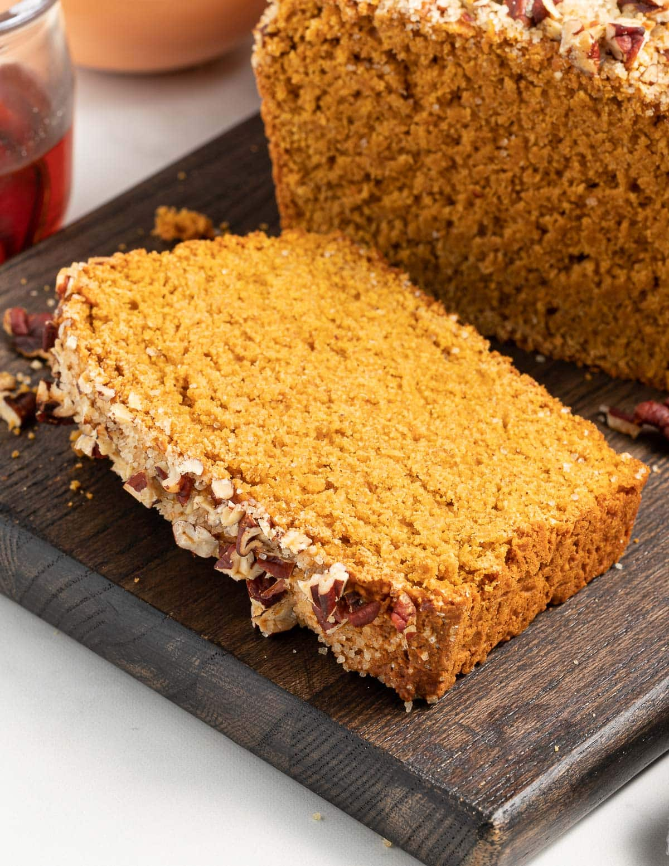 a slice of gluten-free sweet potato bread